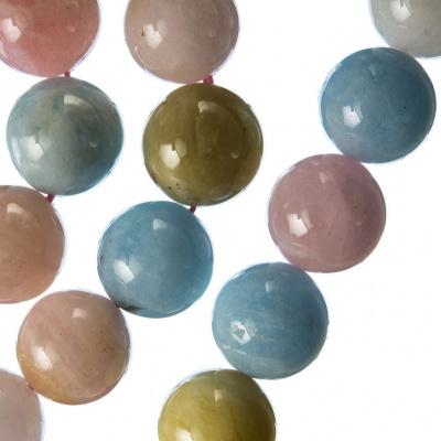 Morganite Grado AA - Filo di sfere lisce da 14mm
