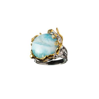 Anello di Larimar, Peridoto, Topazio Azzurro e Argento 925