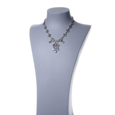 Collana in Argento 925 con Topazio Azzurro a Goccia e Marcasite