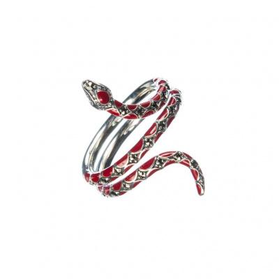 Anello serpente di Marcasiti, smalto rosso e Argento 925