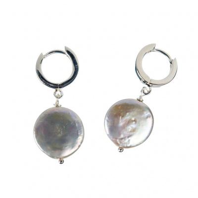 Orecchini Perla piatta tonda e Argento 925