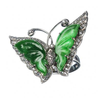 Anello Ciondolo Farfalla Giada Birmana Imperiale (Myanmar) e Argento 925