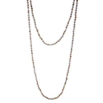 Collana lunga di Agata Grigia Naturale e Argento 925, 145 cm