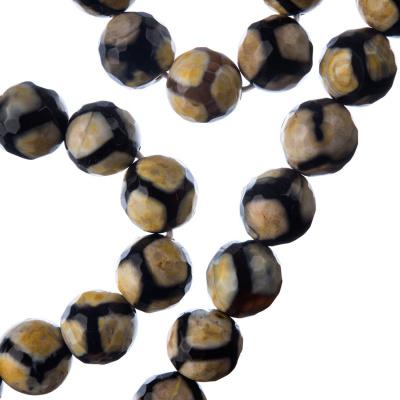Agata Speciale Dzi Nera- Filo di sfere sfaccettate da 10mm