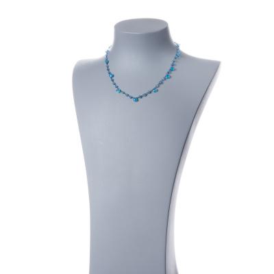 Collana corta in Agata Azzurra e Argento 925 nero - Fiori di Primavera