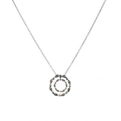 Collana pendente Cerchi di Marcasiti e Argento 925