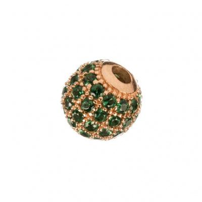 Ciondolo Distanziatore Pallina Argento 925 Rosa con Zirconi Verdi 8mm