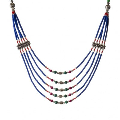 Collana Etnica 5 fili Lapislazzuli, Corallo, Malachite e Argento Tibetano