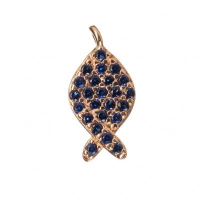 Ciondolo Pesce Argento 925 Rosa con Zirconi Blu