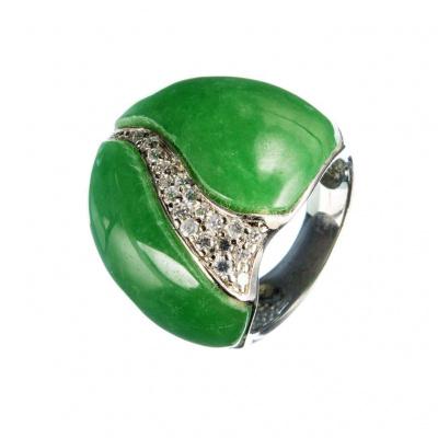 Anello di Agata Verde, Zirconi e Argento 925
