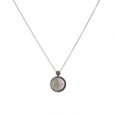 Collana pendente Cerchio di Madreperla, Marcasiti e Argento 925