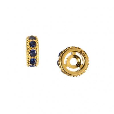 Distanziatore Rondella in Argento 925 Dorato con Zirconi Blu 6mm