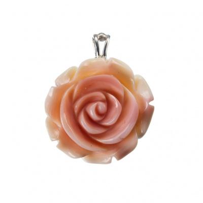 Ciondolo Rosa in Conchiglia Conch e Argento 925