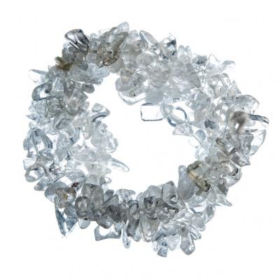 Bracciale chips a fascia in Cristallo di Rocca, elastico
