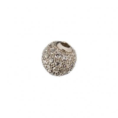 Ciondolo Distanziatore Pallina Argento 925 con Zirconi Bianchi 6mm