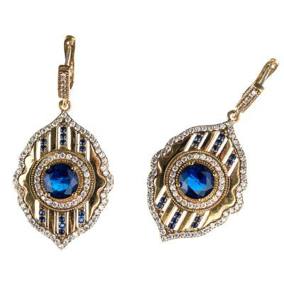 Orecchini ovali con Agata Blu in Argento 925 e Bronzo - Stile Turco