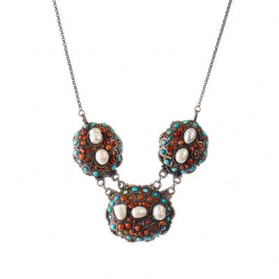 Collana Etnica di Perle, Corallo, Turchese e Argento 925