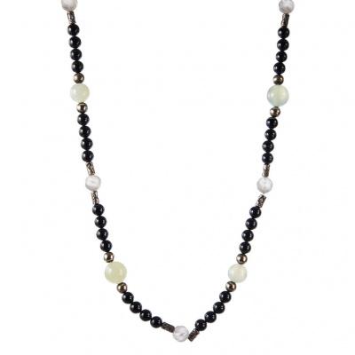 Collana di Agata Occhiata, New Jade, Cristallo di Rocca Satinato e Argento 925