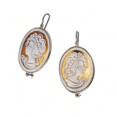 Orecchini in Argento 925 con Cammeo ovale raffigurante un Profilo di Donna