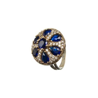 Anello Tondo di Agata Blu e Zirconi in Argento 925 e Bronzo - Stile Turco