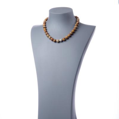 Collana corta Pietra Paesina e Argento 925, sfere 10mm