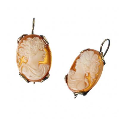 Orecchini in Argento 925 Dorato con Cammeo ovale raffigurante un Profilo di Donna