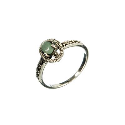 Anello con Smeraldo ovale, Marcasiti e Argento 925