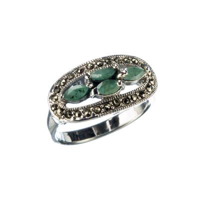 Anello di Smeraldi, Marcasiti e Argento 925