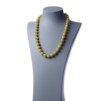 Collana lunga Giada Lemon e Ag 925, sfere 14mm