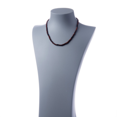 Collana corta Ossidiana Marrone e Ag 925, sfere 4mm