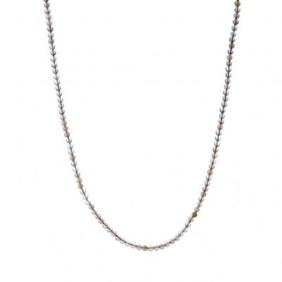 Collana lunga Agata Grigia Naturale e Ag 925, sfere 4mm