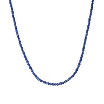 Collana lunga di Zaffiri ed Argento 925