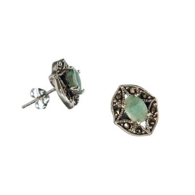 Orecchini con Smeraldo, Marcasiti e Argento 925