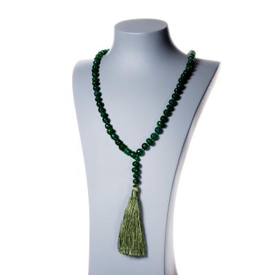 Collana Rosario Buddista in Agata Verde sfaccettata