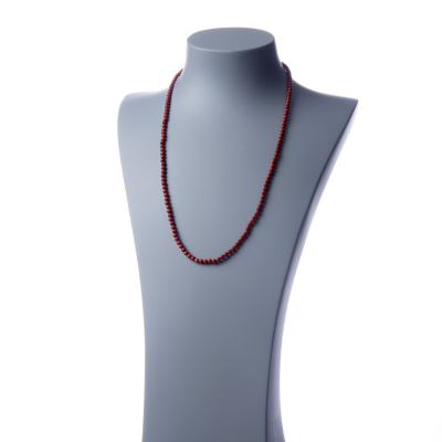Collana lunga Diaspro Rosso e Ag 925, sfere 4mm