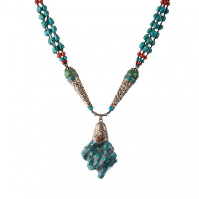 Collana Etnica di Corallo, Turchese e Argento Tibetano