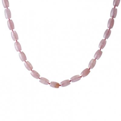 Collana di Quarzo Rosa qualità Extra barilotto e Argento 925
