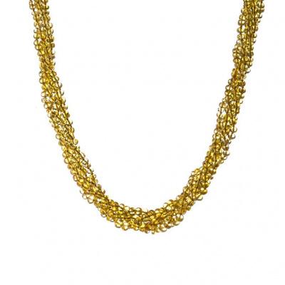 Collana Torchon 5 fili di Ambra e Argento 925 dorato