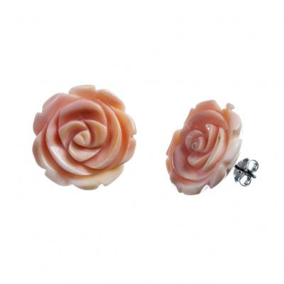 Orecchini Rosa in Conchiglia Conch e Argento 925