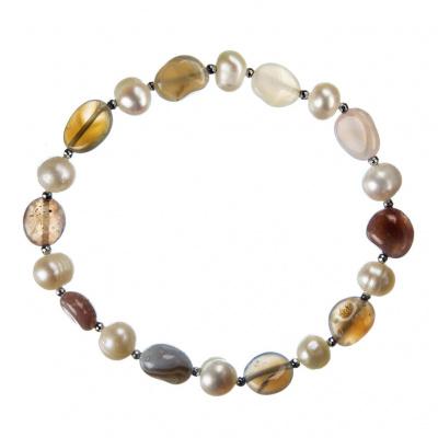 Bracciale elastico di Agata Naturale e Perle