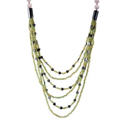 Collana di Giada Verde, Ematite, Quarzo Rosa e Argento 925
