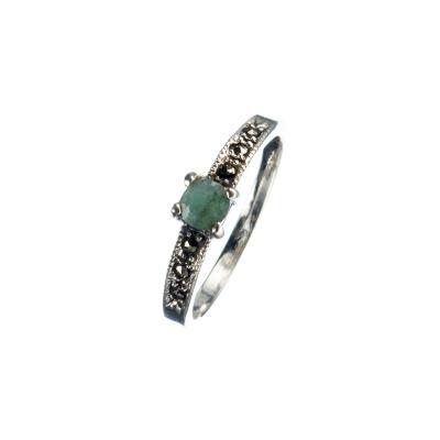 Anello con Smeraldo, Marcasiti e Argento 925