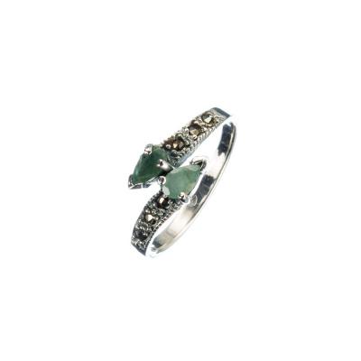 Anello in Smeraldo, Marcasiti e Argento 925