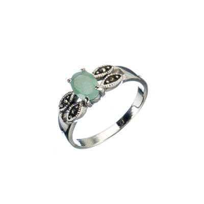 Anello di Smeraldo ovale, Marcasiti e Argento 925