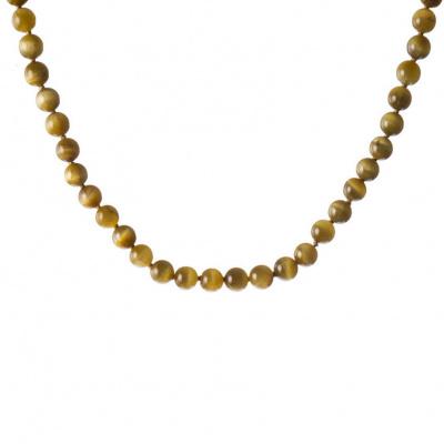 Collana a sfere di Occhio di Tigre Qualità Extra e Argento 925
