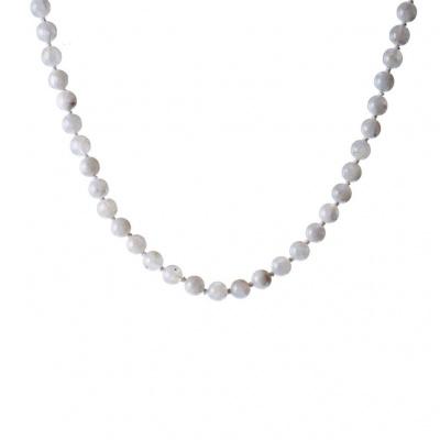 Collana di Labradorite Bianca e Argento 925, Sfere 8 mm