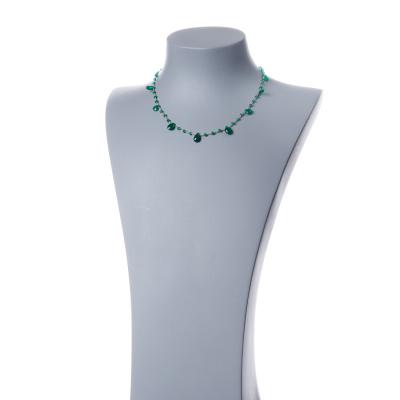 Collana corta in Agata Verde e Argento 925 dorato - Fiori di Primavera