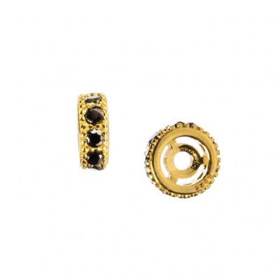 Distanziatore Rondella in Argento 925 Dorato con Zirconi Neri 6mm