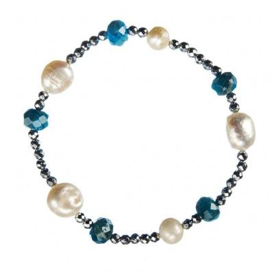 Bracciale elastico di Apatite Blu, Perle e Ematite
