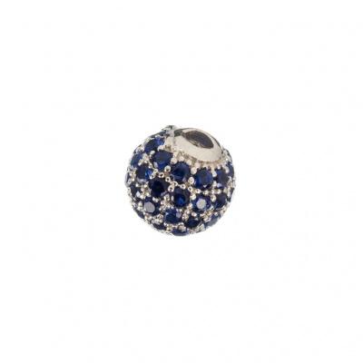 Ciondolo Distanziatore Pallina Argento 925 con Zirconi Blu 6mm